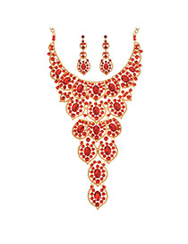 Vintage Red Water Shape Gemstone Decorated Hollow Out Necklace