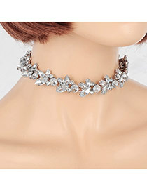 Vintage Silver Color Water Shape Diamond Decorated Pure Color Choker