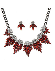 Elegant Red Water Shape &round Shape Diamond Decorated Jewelry Sets