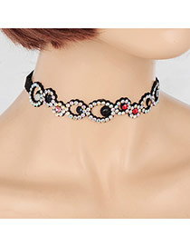 Fashion Multi-color Round Shape Diamond Decorated Hollow Out Choker