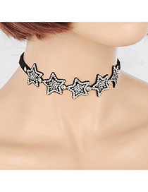 Fashion White Round Shape Decorated Star Design Choker