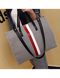 Fashion Gray Color-matching Decorated Square Shape Bag