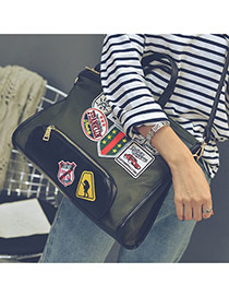 Fashion Green Patch Decorated Square Shape Subtle Life Bag