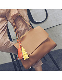 Delicate Brown Tassel Decorated Pure Color Design Bag