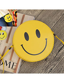 Sweet Dark Yellow Smiling Face Decorated Round Shape Simple Bag