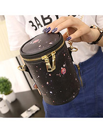 Personality Black+pink Starry Sky Pattern Decorated Simple Bucket Bag