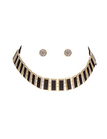 Fashion Black Square Shape Decorated Simple Jewelry Sets