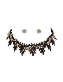 Fashion Black Diamond Shape Decorated Simple Jewelry Sets