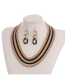 Fashion Black+gold Color Color-matching Decorated Short Chain Jewelry Sets