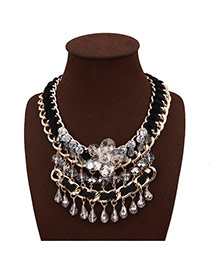 Exaggerate Black Flower Decorated Pure Color Design Hand-woven Necklace