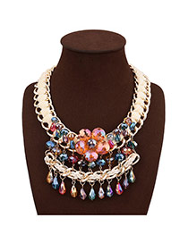 Exaggerate White+multi Color Flower Decorated Multilayer Design Hand-woven Necklace