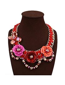 Exaggerate Red Flower Decorated Hand-woven Short Chain Necklace