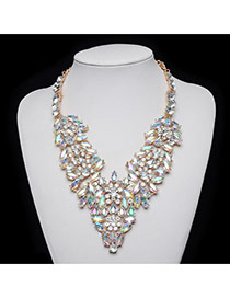 Delicate Multi-color Oval Shape Diamond Decorated Short Chain Necklace