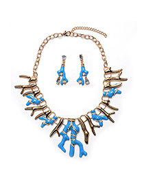 Exaggerate Blue Branch Shape Decorated Short Chain Jewelry Sets