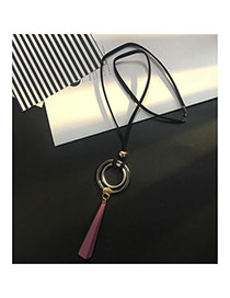 Fashion Dark Red Round Shape Decorated Long Chain Sweater Necklace