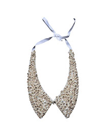 Elegant White Paillette Decorated Short Chain Collar Necklace