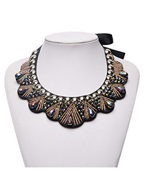 Fashion Brown Round Shape Diamond Decorated Short Chain Necklace