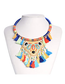 Exaggerated Multi-color Beads Weaving&tassel Pendant Decorated Simple Necklace