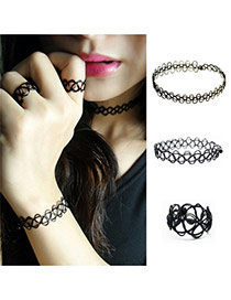 Fashion Black Pure Color Decorated Hollow Out Jewelry Sets
