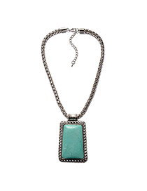 Vintage Silver Color+green Rectangle Shape Stone Pendant Decorated Simple Necklace