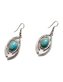 Fashion Green+silver Color Metal Wing Shape Pendant Decorated Simple Earrings