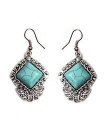 Retro Green+silver Color Square Shape Gemstone Decorated Simple Earrings