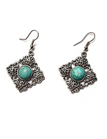 Retro Green+silver Color Metal Square Shape Decorated Simple Earrings