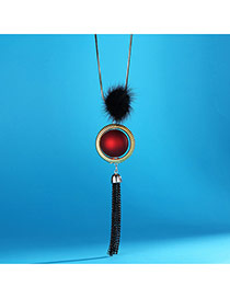 Fashion Red Fuzzy Ball Decorated Metal Tassel Sweater Necklace