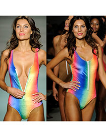 Vintage Multi-color Rainbow Color Matching Decorated Zipper Design Bikini