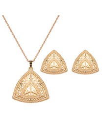 Fashion Gold Color Triangle Shape Pendant Decorated Hollow Out Jewelry Sets