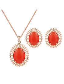 Elegant Gold Color+red Oval Shape Gemstone Decorated Long Chain Jewelry Sets