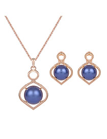 Elegant Gold Color+blue Round Shape Decorated Simple Hollow Out Jewelry Sets