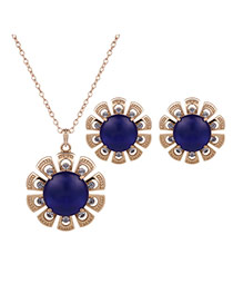 Fashion Gold Color+blue Flower Shape Pendant Decorated Simple Jewelry Sets