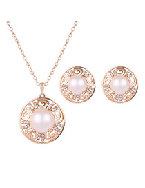 Fashion Gold Color+white Round Shape Gemstone Decorated Hollow Out Jewelry Sets