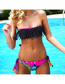 Sexy Black+plum Red Scrawl Pattern Decorated Tassel Wipe Bosom Bikini