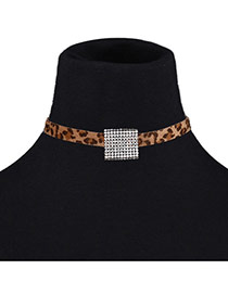 Fashion Yellow Square Diamond Decorated Leopard Print Chocker