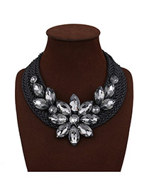 Exaggerated Black Crystal Flower Shape Decorated Hand-woven Chain Necklace