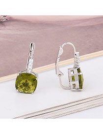 Exquisite Green Square Diamond Decorated Simple Earring