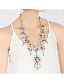 Exquisite Multi-color Waterdrop Pendant Decorated Short Chain Necklace