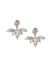 Exquisite Silver Color Waterdrop Diamond Decorated Cross Shape Earring