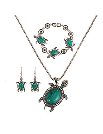 Vingtage Blue Turtle Shape Pendant Decorated Simple Jewelry Sets