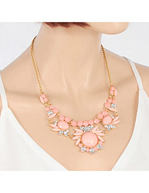 Exquisite Light Pink Round Gemstone Decorated Short Chain Necklace