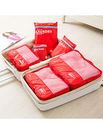 Fashion Red Letter Pattern Decorated Net Yarn Storage Bag(6pcs)