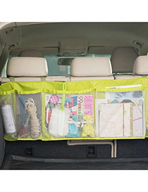 Fashion Green Pure Color Decorated Net Yarn Vehicle-mounted Storage Bag