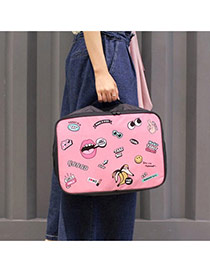 Fashion Pink Multielement Cartoon Pattern Decorated Tourism Storage Bag