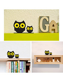 Cute Black+yellow Color Matching Decorated Owl Shape Home Furnishing Articles