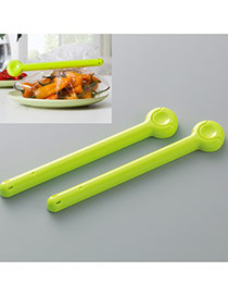 Fashion Green Pure Color Decorated Simple Food Sealed Clips(2pcs)