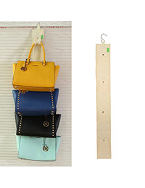 Fashion Beige Multilayer Button Decorated Pure Color Hang Storage Bag