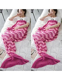 Fashion Pink Wave Stripe Pattern Decorated Color Matching Mermaid Shape Blanket