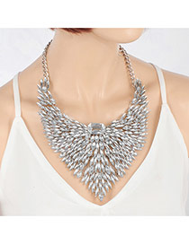 Elegant Silver Color Hollow Out Wing Shape Decorated Short Chain Necklace